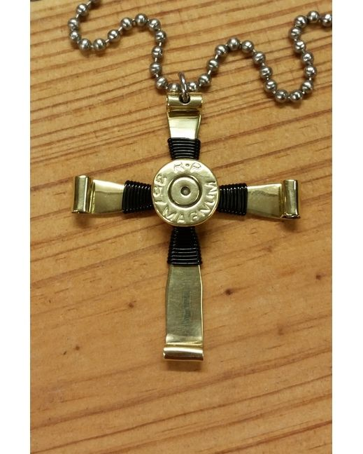 Flaming Hope Bullet Jewelry 357 MAG Bullet Casing Black Wire Cross Necklace