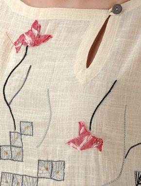 Ivory Embroidered Cotton Kurta