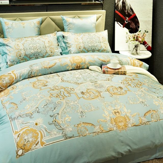 Queen king size bedding set-elegant duvet cover bed sheet bedding pillowcase with buttons,100% Egyptian cotton 600TC bed linens