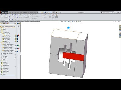 SolidWorks Tutorial: Create Core/Cavity for a part - YouTube
