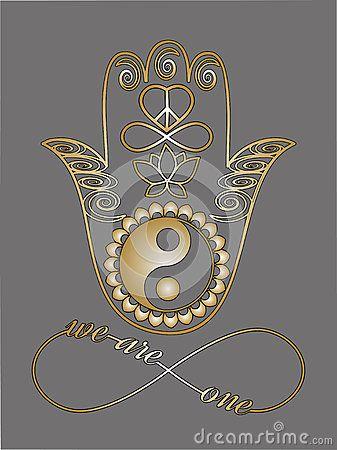 Mão da Buda, símbolo de Ying Yang, flor de Lotus, sinal da infinidade, paz e símbolo do amor