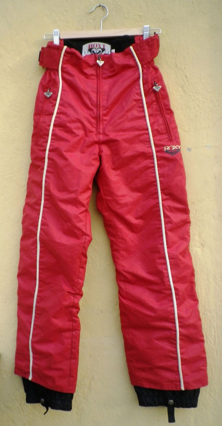 VINTAGE Snowboarding Pants / Vtg 90s Roxy QuickSilver Skiing/Snowboarding Pants/ Hipster / Boho / Gypsy / SnowWear / Outerwear / Activewear http://etsy.me/2CC4jub #clothing #women #red #beige #snowboard #skii #skiipants #warmpants #snow #roxy #quicksilver #activewear