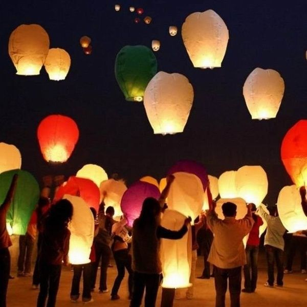 7pcs Mix color Wishing Lanterns Chinese Paper Sky Candle Wedding Flying Party