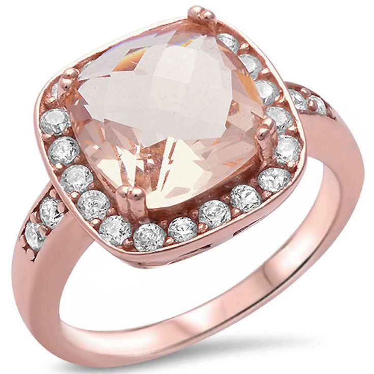 Cushion Cut Morganite Clear CZ Halo Sterling Silver Engagement Promise Ring #Unbranded #SolitairewithAccents