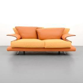 Lot 495 - Giorgio Saporiti SUPER ROY Loveseat / Sofa. Il Loft label Italy.