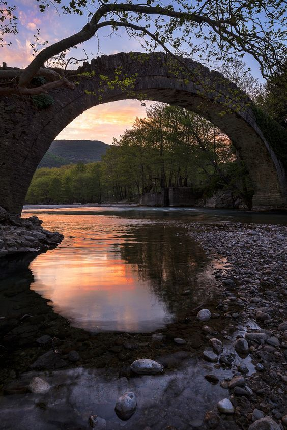 Blind Sunset - Voidomatis River old Bridge, Epirus Greece