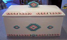 3D MEIWA TABLE ART Ceramic Southwestern Tuscan ADOBE Bread Muffin Box - VGC