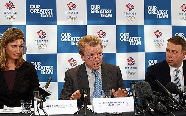 "Road to London 2012 Olympics and Paralympics: Images of the week, May 01 2012 - Body blow: the British Olympic Association's drug cheat bylaw was ruled unenforceable by the Court of Arbitration for Sport. BOA chairman Lord Moynihan (centre) said it was a ""hollow victory"" for the World Anti-Doping Agency.  Picture: GETTY IMAGES"