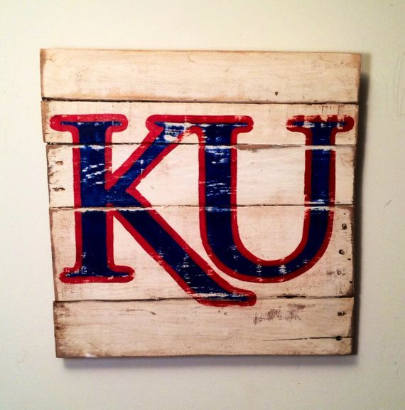 Kansas Jayhawks Sign / University of Kansas by PalletsandPaint