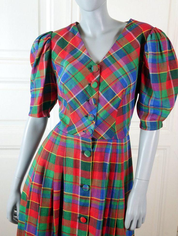German Vintage Landhaus Dress, Traditional Bavarian Folk Dress, Scotch Plaid Trachten Dress, Octoberfest, Festival Dress: Size 12 US, 16 UK by YouLookAmazing on Etsy