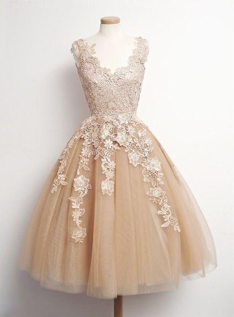 Fashion Lace Prom Dresses, Knee-Length Dress Graduation, Tulle Chiffon Dress Homecoming, Homecoming Dresses, Lace Applique Dress
