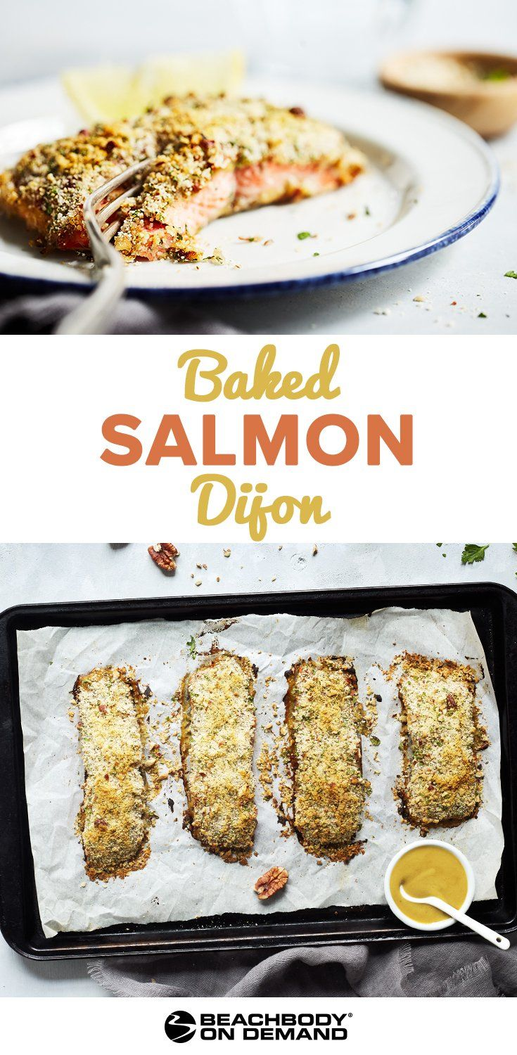 Easy and healthy Baked Salmon Dijon recipe breaded with breadcrumbs, crushed pecans, and fresh herbs for a simple sheet pan dinner. best salmon recipes // baked salmon recipe // 21 Day fix dinner recipes // healthy dinner recipe // Beachbody // Beachbody Blog // #salmonrecipe #grilledsalmon #21dayfix #healthydinnerrecipes