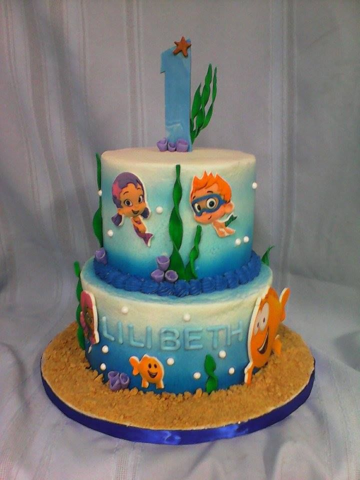 6/8 inch bubble guppy cake , edible images on fondant ...