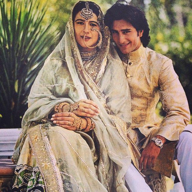 #SaifAliKhan and first wife #AmritaSingh wearing a mughal inspired nath (nose ring)
