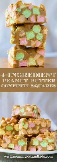 These foolproof 4-ingredient squares are so delicious and nostalgic! Peanut butter, butterscotch, butter and rainbow marshmallows make an irresistible treat you'll want to make again and again. Kid-friend and more candy than square, these are perfect for