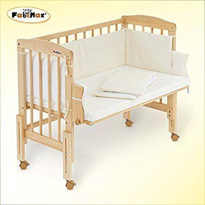 FabiMax bedside cot PRO, mattress CLASSIC and bumper Patricia cream