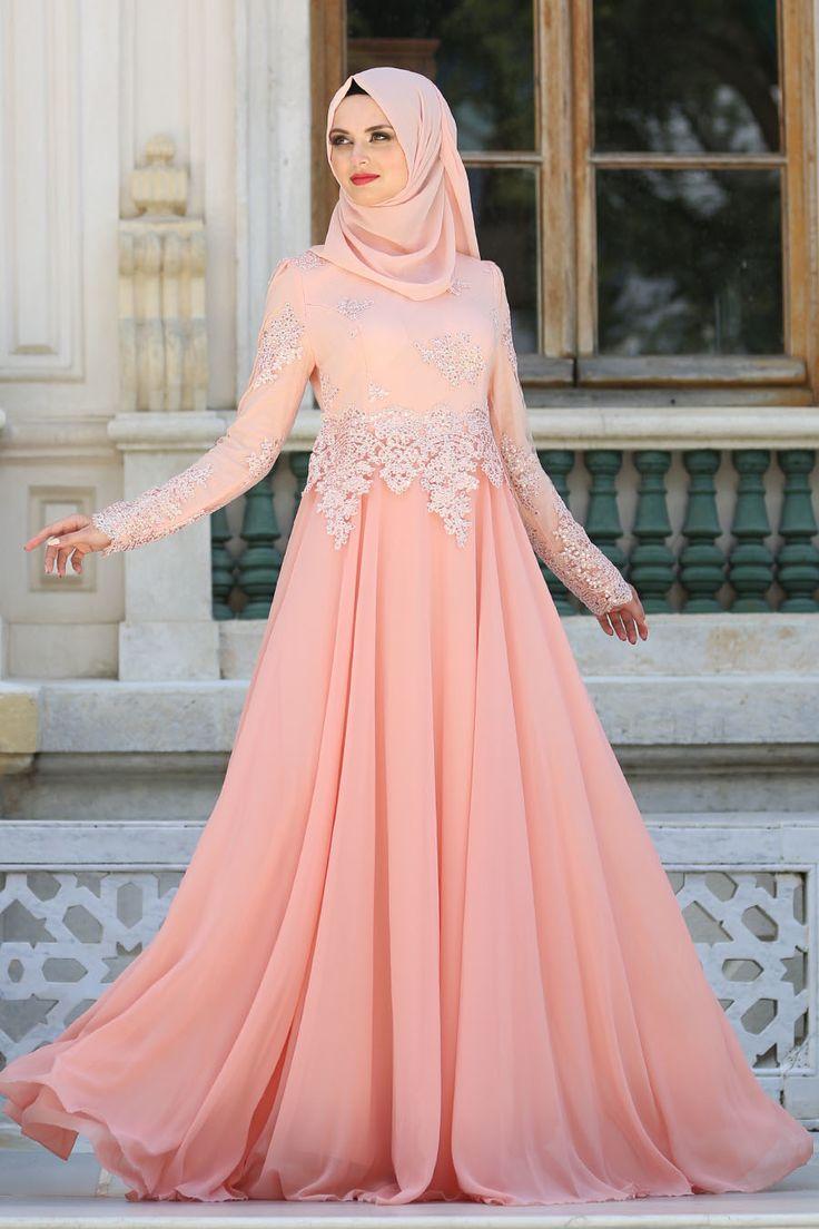 Hijab Abendkleid - Pailletten Besticktes Lachs Hijab Abendkleid 7601PD
