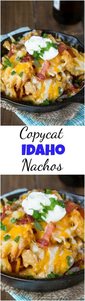 Copycat Granite City Idaho Nachos - a restaurant favorite appetizer at home!  Crispy waffle fries topped with bacon, green onions and lots of melty cheese! #copycat #nachos #gameday #cheesy
