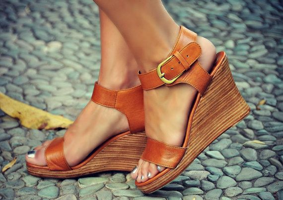 These tan leather wedges are made to order from high quality soft double leather.  Dance your night away in these beautiful leather wedges. Featuring