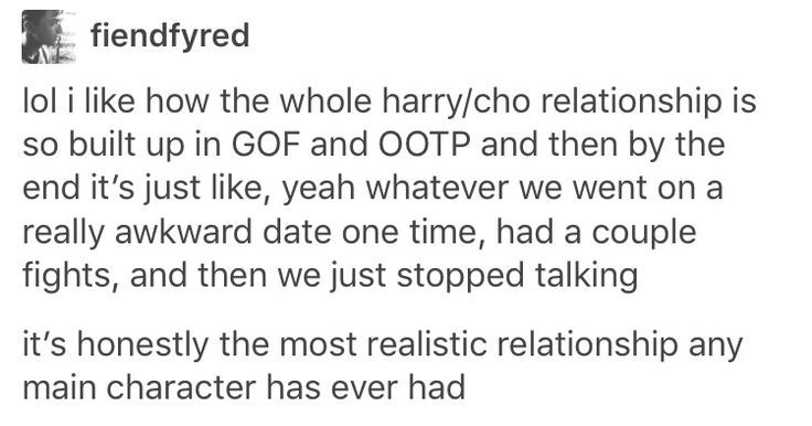 Realistic relationship - Harry and Cho Chang