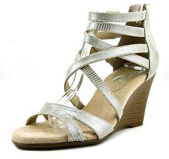 Aerosoles Glossary Women Open Toe Leather Silver Wedge Sandal.