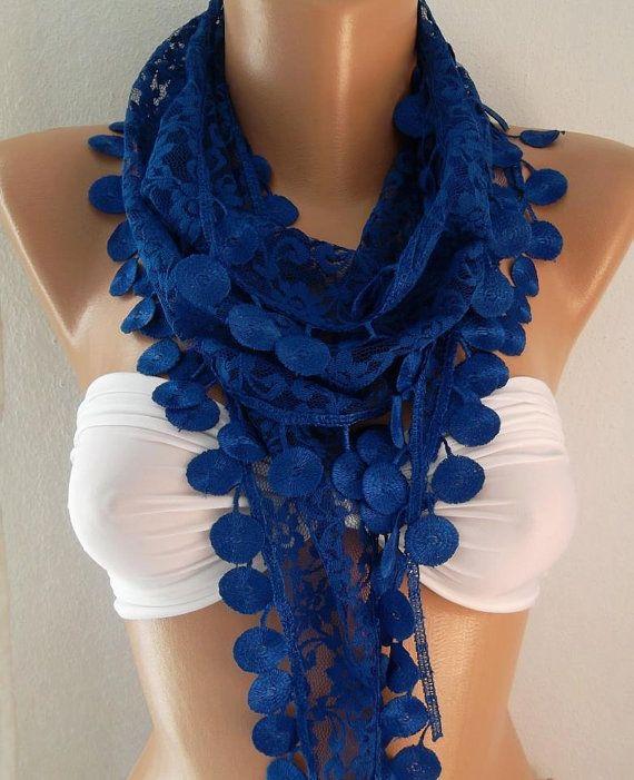 Elegance Scarf  Lace Scarf  Cobalt Blue by womann on Etsy, $15.00