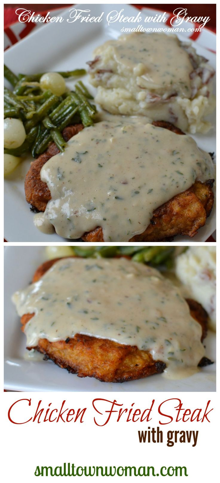 There is nothing quite as scrumptious as chicken fried steak with gravy!  Oh my gosh!  I could eat this for breakfast! #comfort food