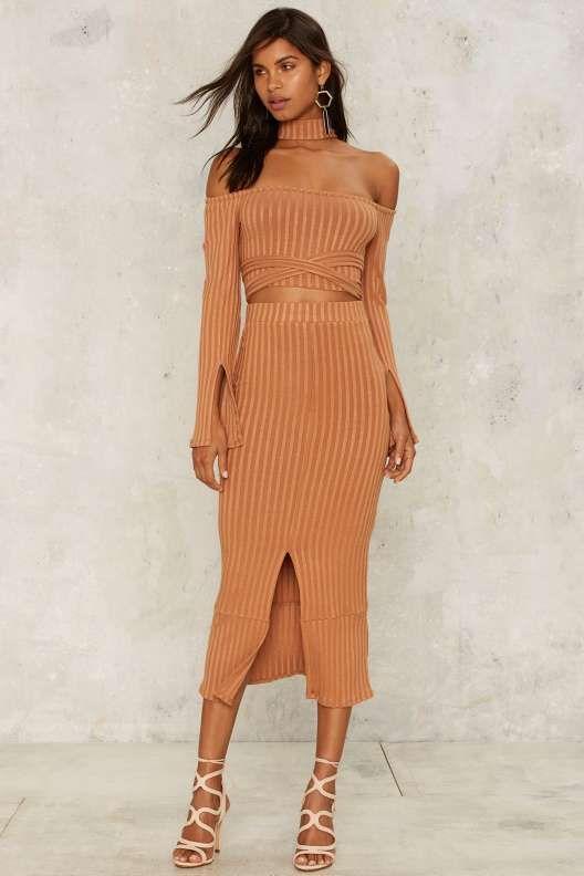 Lavish Alice Cairo Ribbed Slit Skirt