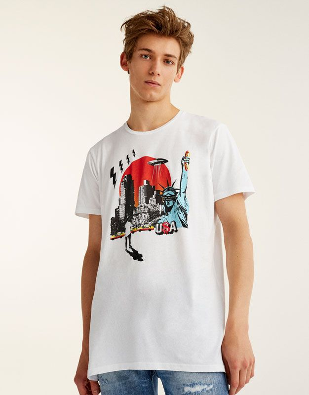 USA print T-shirt - T-shirts - Clothing - Man - PULL&BEAR Spain