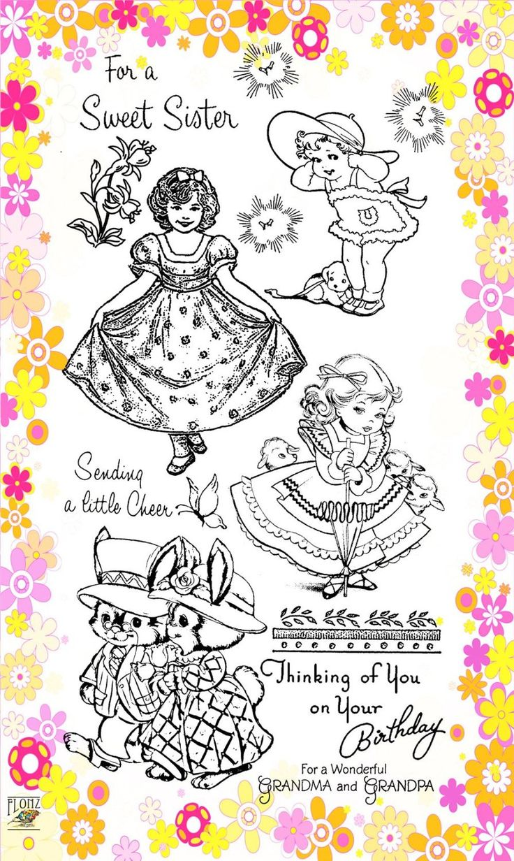 """Amazon.com: Little Lady // Clear stamps pack (4""""x7"""") FLONZ: Arts, Crafts & Sewing"""