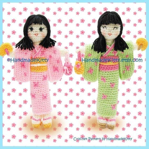 Kimiko and Midori Japanese Dolls Amigurumi PDF Crochet Pattern by HandmadeKitty