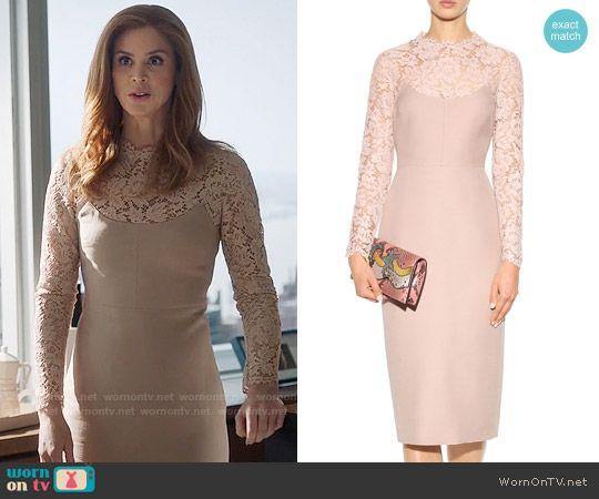 Valentino Lace Panelled Dress worn by Sarah Rafferty on Suits