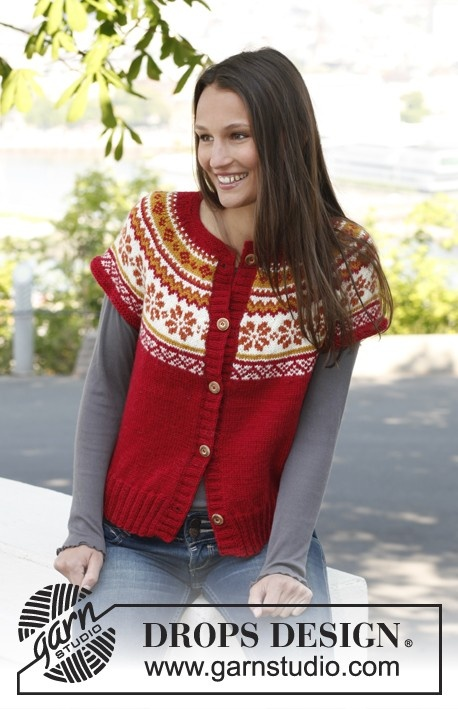 """Free pattern: Knitted DROPS vest with round yoke and Norwegian pattern in """"Karisma""""."""