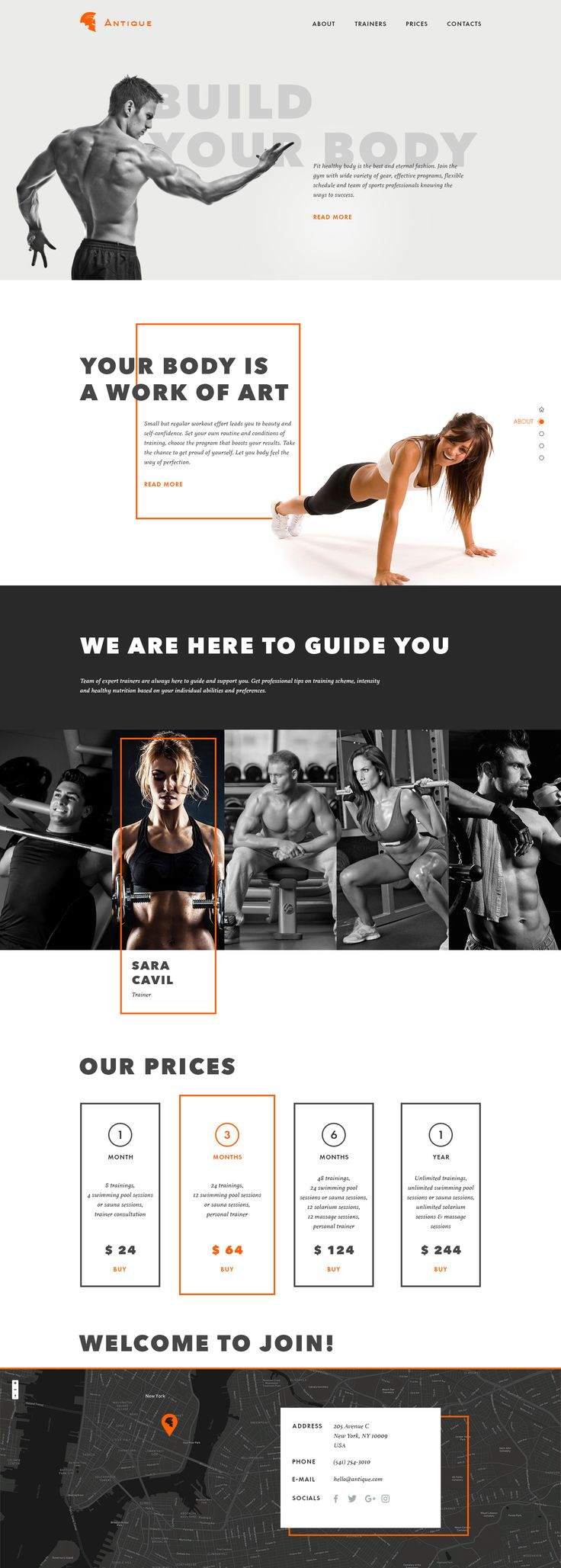 Landing Page of a gym presenting all the basic information. Ui concept design by Dima Panchenko @ T U B I K studio