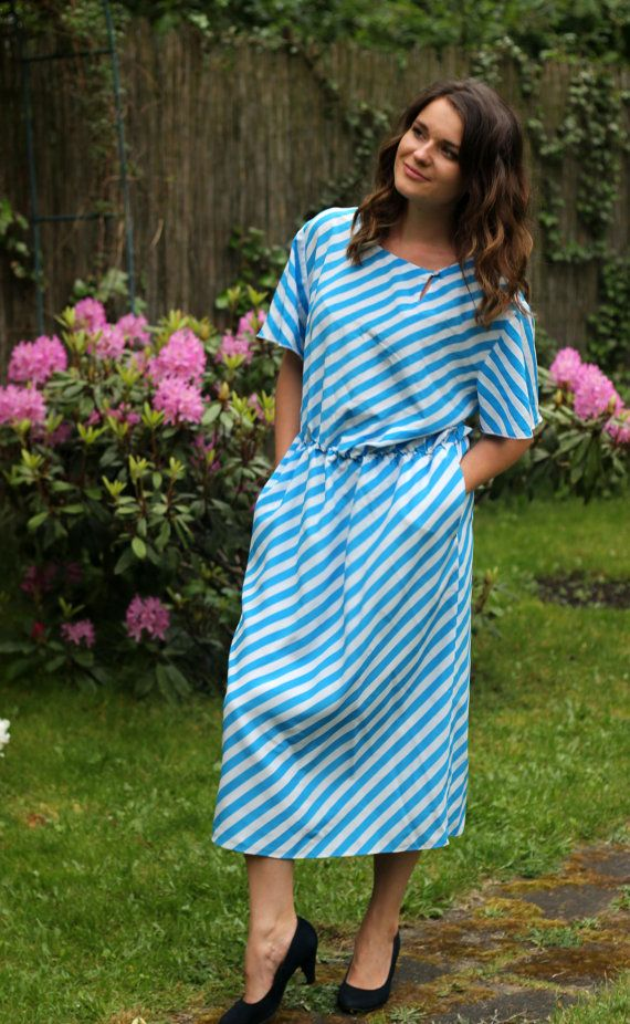 tailor made midi dress blue and white stripes by VintagEraShop