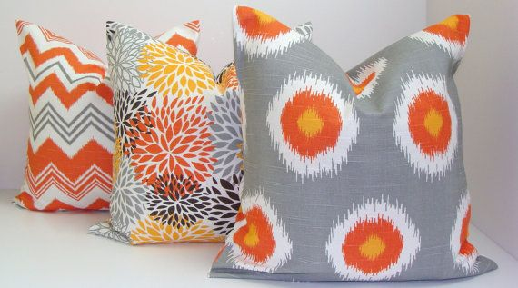 Orange and Gray Pillows.ALL SIZES.Pillow Covers.Printed Fabric Front and Back.Orange.Gray.Solid.Chevron.ZigZag.Ikat..Circles.Spots.Flowers