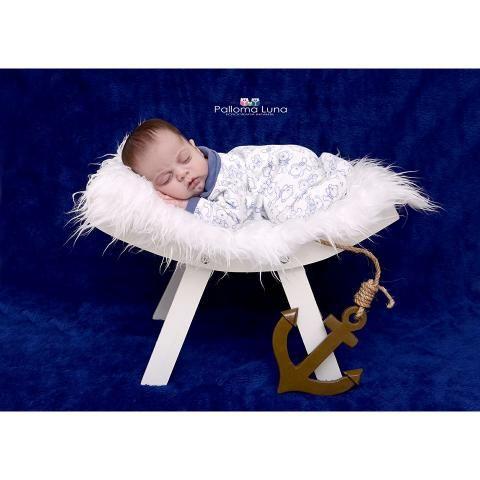 Banco Curvado Rústico Branco - Newborn E Bebê