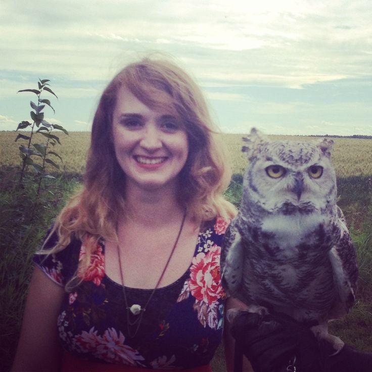 Artist Jennea Frischke with Otis the great horned #owl