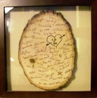 Guestbook idea, would go with my woodsy theme for the wedding, since I'm using lots of wood!! lol