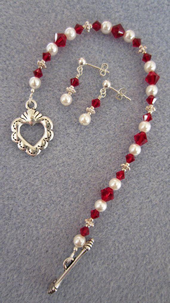 Red Valentine Swarovski Bracelet & SS Matching Earrings SET by BEX on Etsy - $35