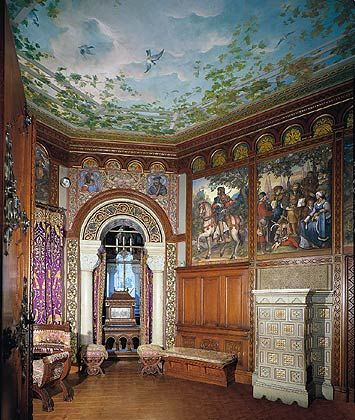 Painted ceiling at Neuschwanstein Castle, Bavaria, Germany