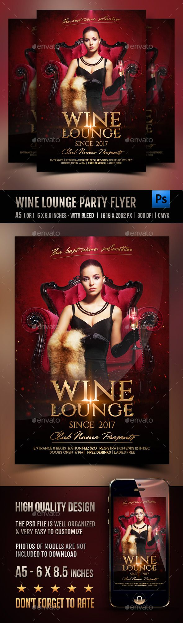 Wine lounge Party Flyer — Photoshop PSD #glamorous #event • Available here → https://graphicriver.net/item/wine-lounge-party-flyer/12121748?ref=pxcr