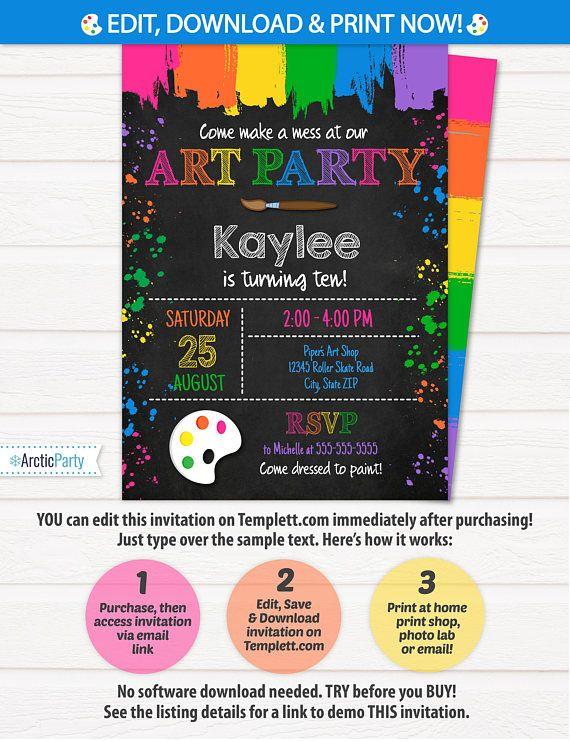 Art Party Invitation Art Invitation Art Birthday Party $7.99 #ArtPartyInvitation #ArtInvitation #ArtBirthdayParty