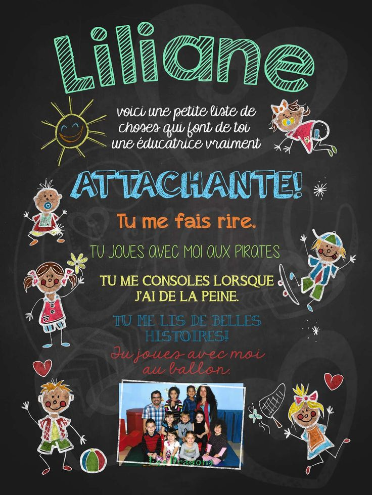 Affiche personnalisée Éducatrice attachante! avec photo | 17,00$ #lacraieco #chalkboard #cadeau #gardienne #garderie #cpe
