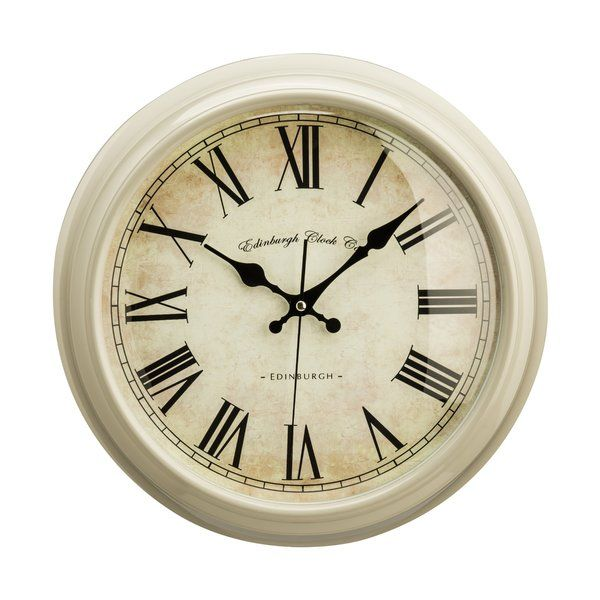 Bring a rustic touch to any room with this classic wall clock, featuring a bevelled frame and a distressed finish.