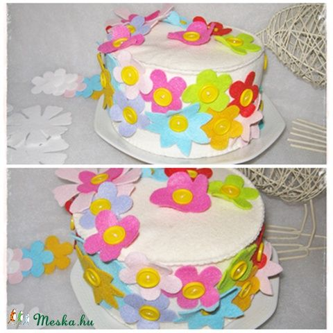 Díszíthető filc torta virágokkal, Játék, Baba, babaház, Készségfejlesztő játék, Meska