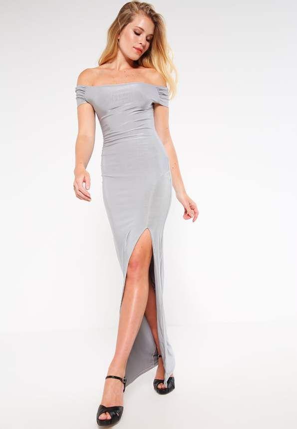 Grijze jurk - split