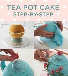 Tea Pot Cake Step-by-Step / theepot taart tutorial gepind door www.hierishetfeest.com
