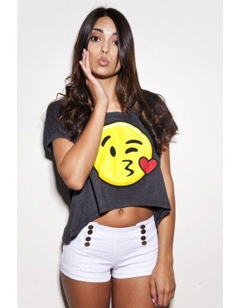 Emojis brought to life on this super soft oversized crop top.