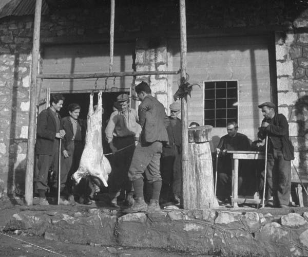 Civil War/Greece  The storeowner butchering a goat.Location:Louzesti, Greece  Date taken:December 1947  Photographer:John Phillips